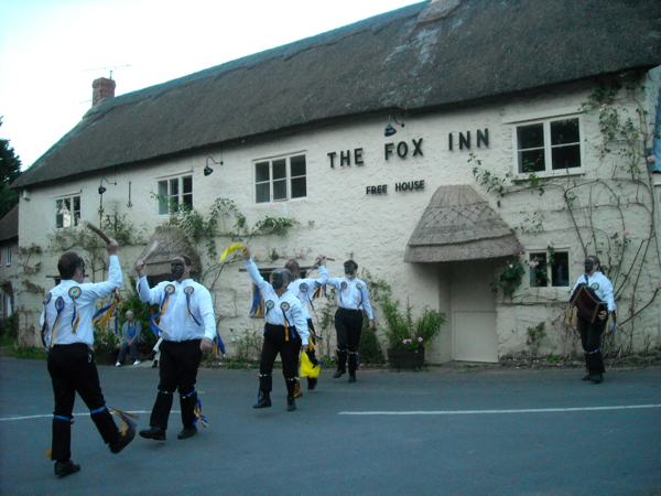 Babylon dancing outside the Fox Inn, Corscombe